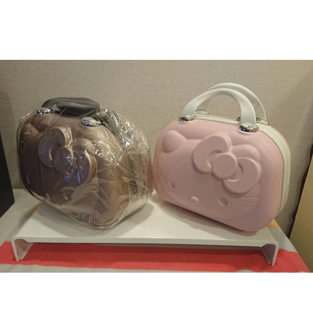 Hello Kitty 14吋 旅行箱 行李箱 手提包 硬殼手提包 粉紅色/香檳色 附拉杆固定帶