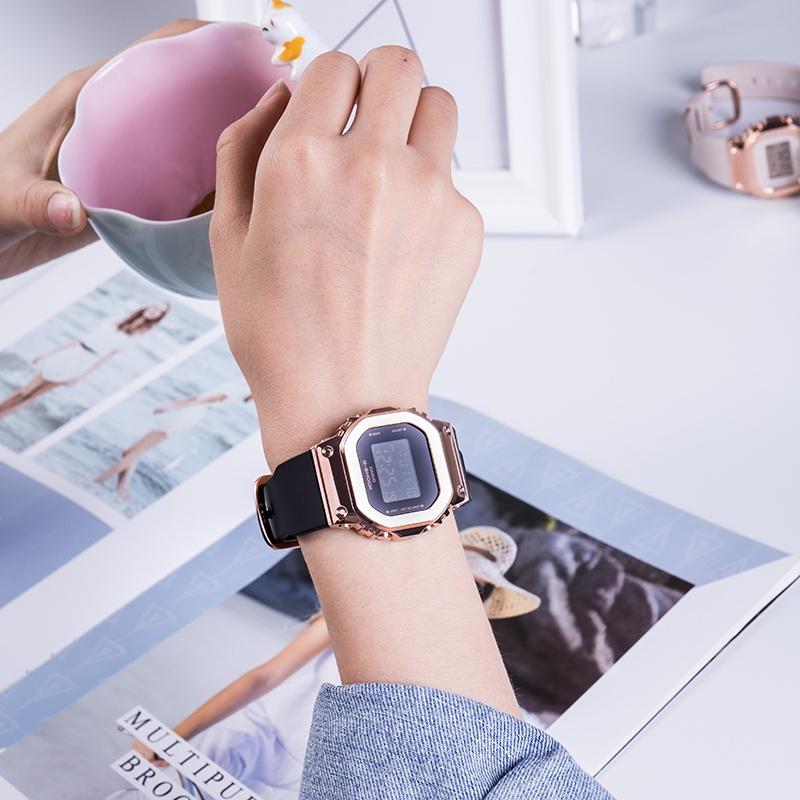 新款復古金屬防水小方塊手表女GM-S5600PG-1/4 G-7