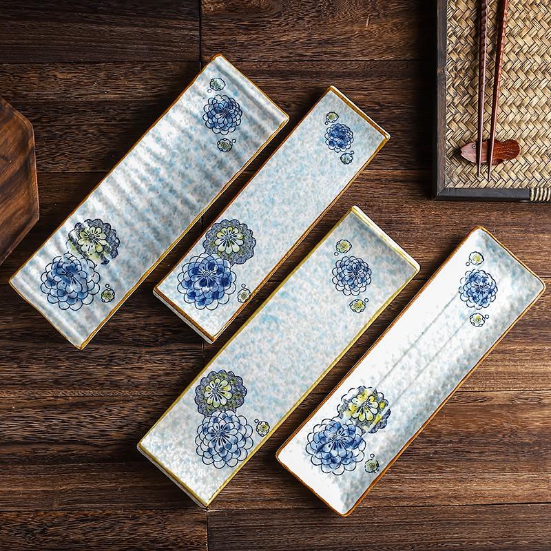长条寿司盘陶瓷餐盘家用创意西餐盘子刺身盘甜品碟摆盘料理店餐具