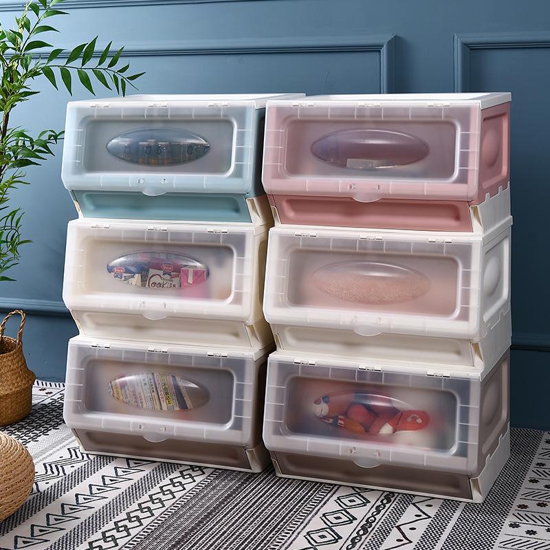 特大號收纳箱 斜口收納箱 可折疊 側開 透明 整理箱 玩具衣物收納箱 可疊加 塑膠收納箱 置物箱 玩具 零食收納箱