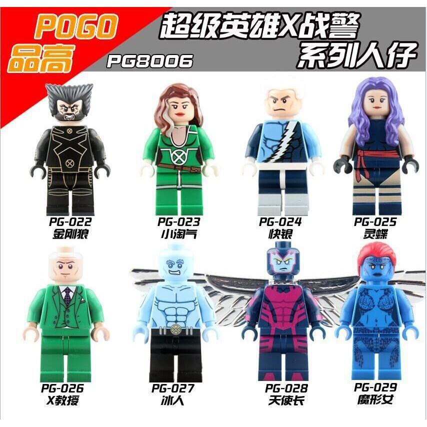 Pg8006 Pg025 Psylocke X-Men 天使電纜金剛狼與 Legoing Minifigures Ave
