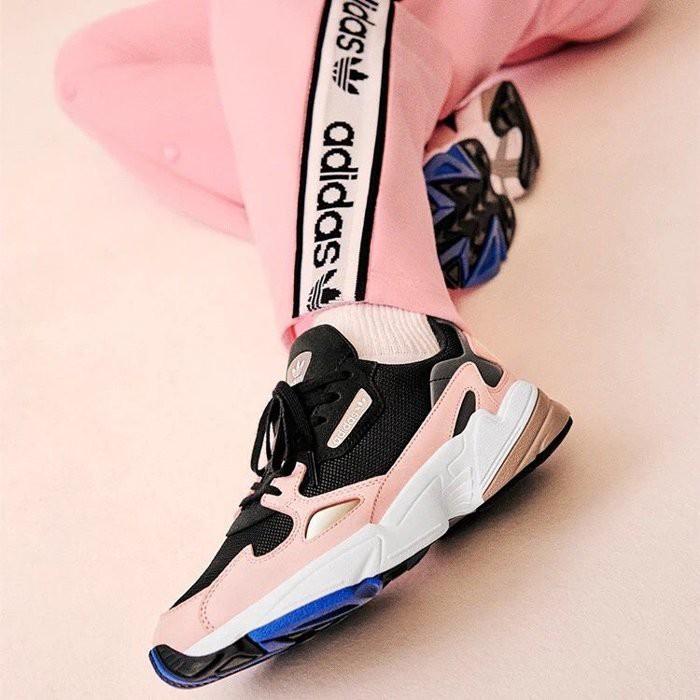 全新正貨 ADIDAS ORIGINALS FALCON 黑 粉 藍 復古 老爹鞋 B28126 女鞋