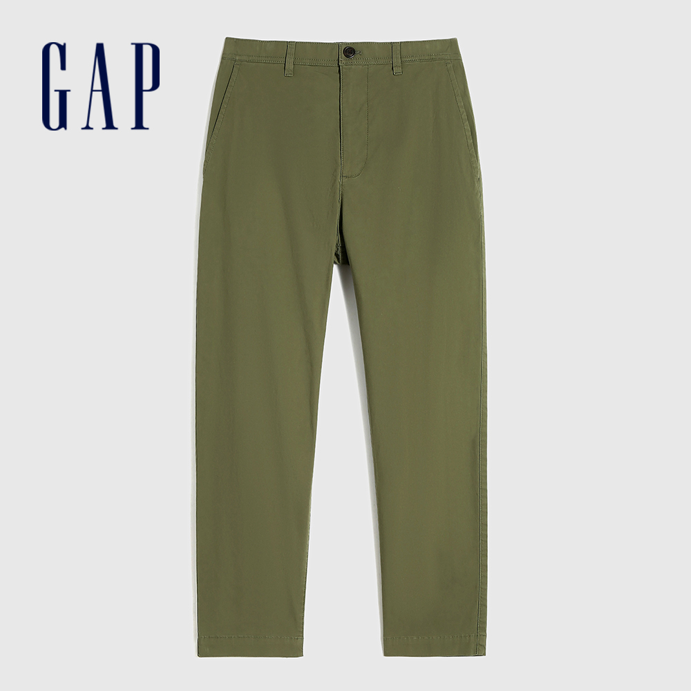 Gap 男裝 商務風中腰直筒型休閒褲 911065-綠色