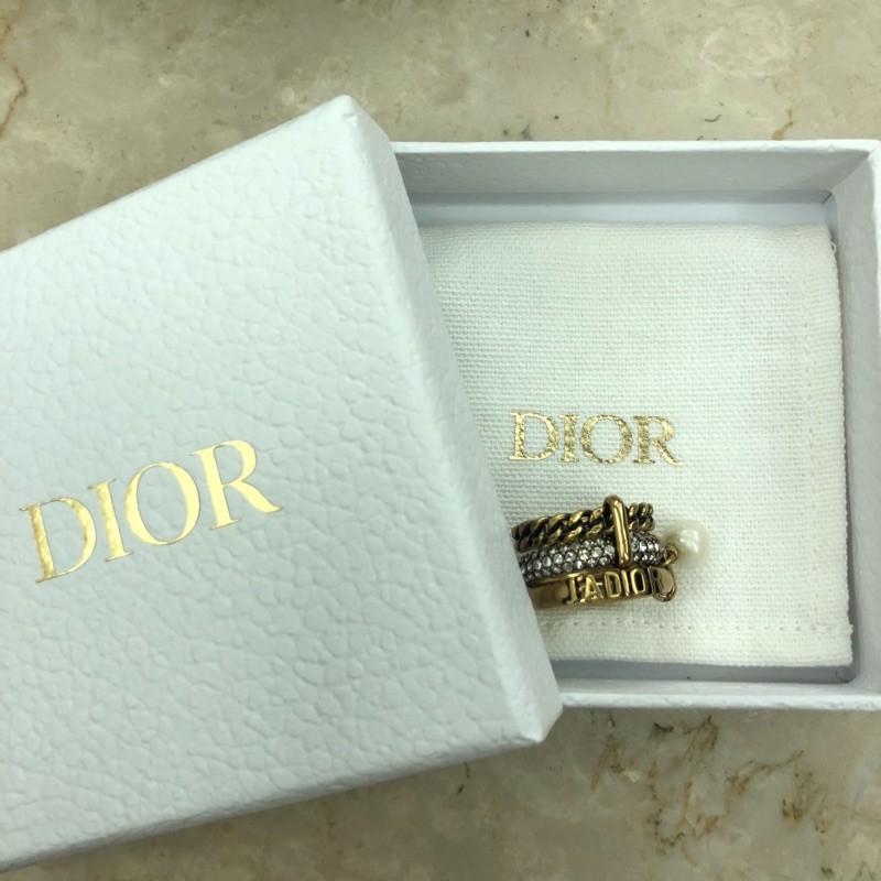 Dior J'Adior 復古金屬 珍珠 三合一 三環戒 戒指