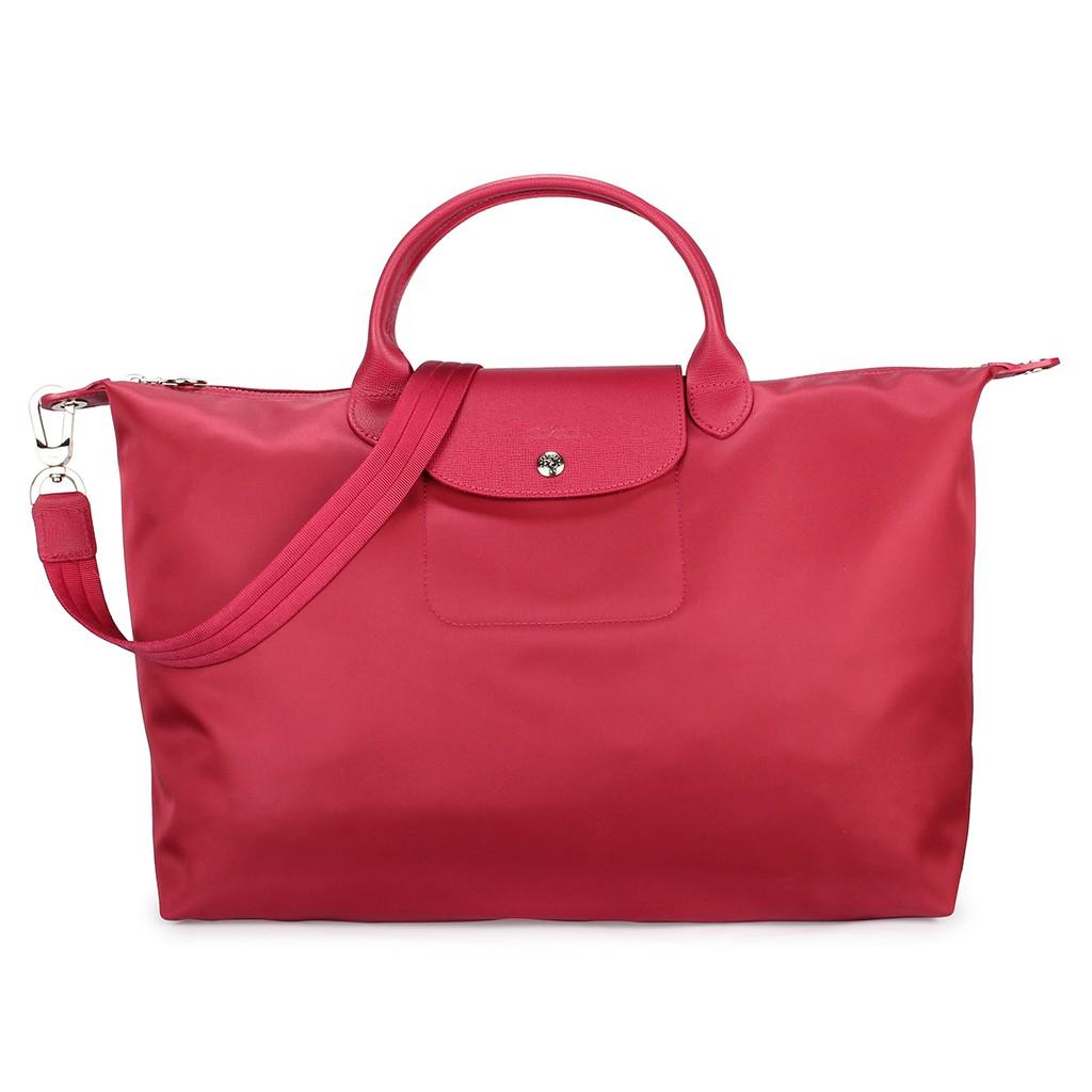 LONGCHAMP 限量短提把兩用大型厚尼龍水餃包手提包肩背包側背包斜背包(粉色)【購名牌】