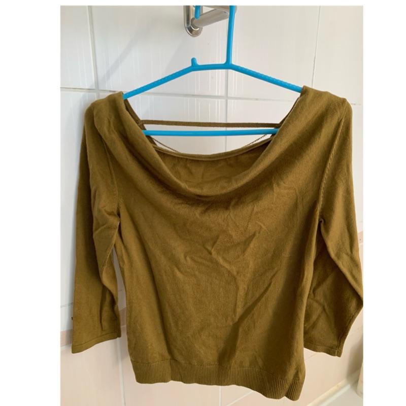Michel KLELN 羊毛芥黃色後造型針織上衣