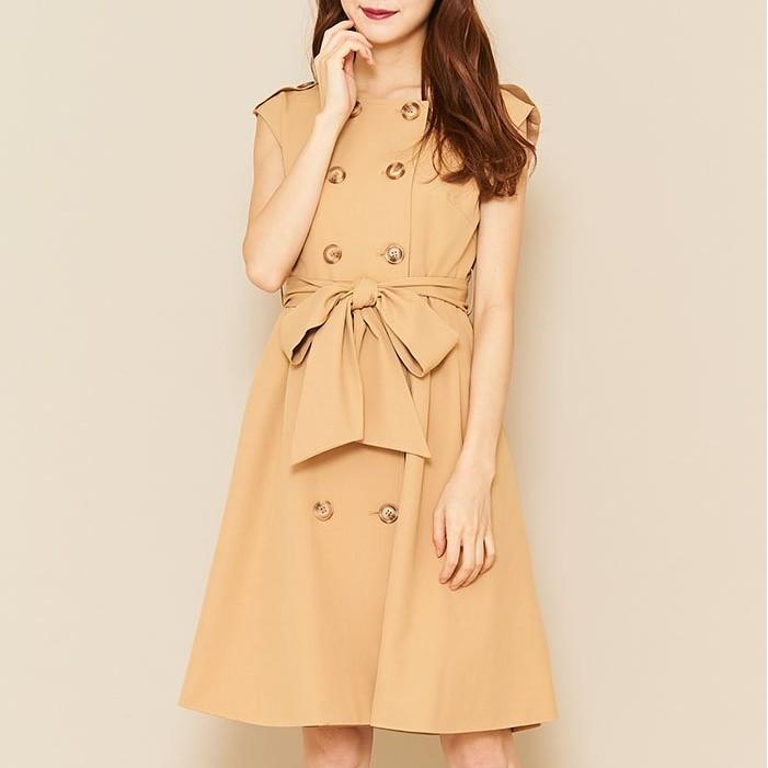 titty&Co.【Y9351-007】無領無袖風衣式洋裝(2色)