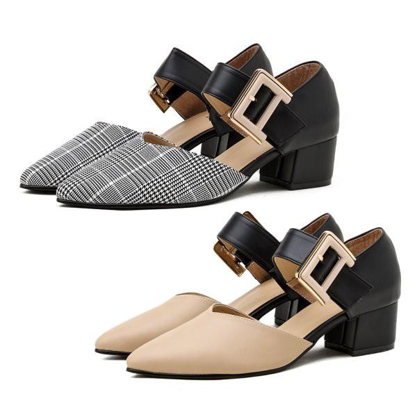 【白鳥麗子】低跟鞋 MIT優雅拚色一字扣環魔鬼氈尖頭粗跟包鞋