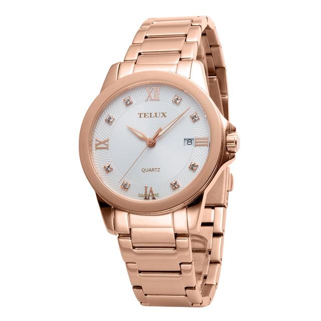 台灣品牌手錶腕錶【TELUX鐵力士】微光系列女腕錶手錶-40mm台灣製造石英錶7002GRG-W30晶鑽玫瑰金