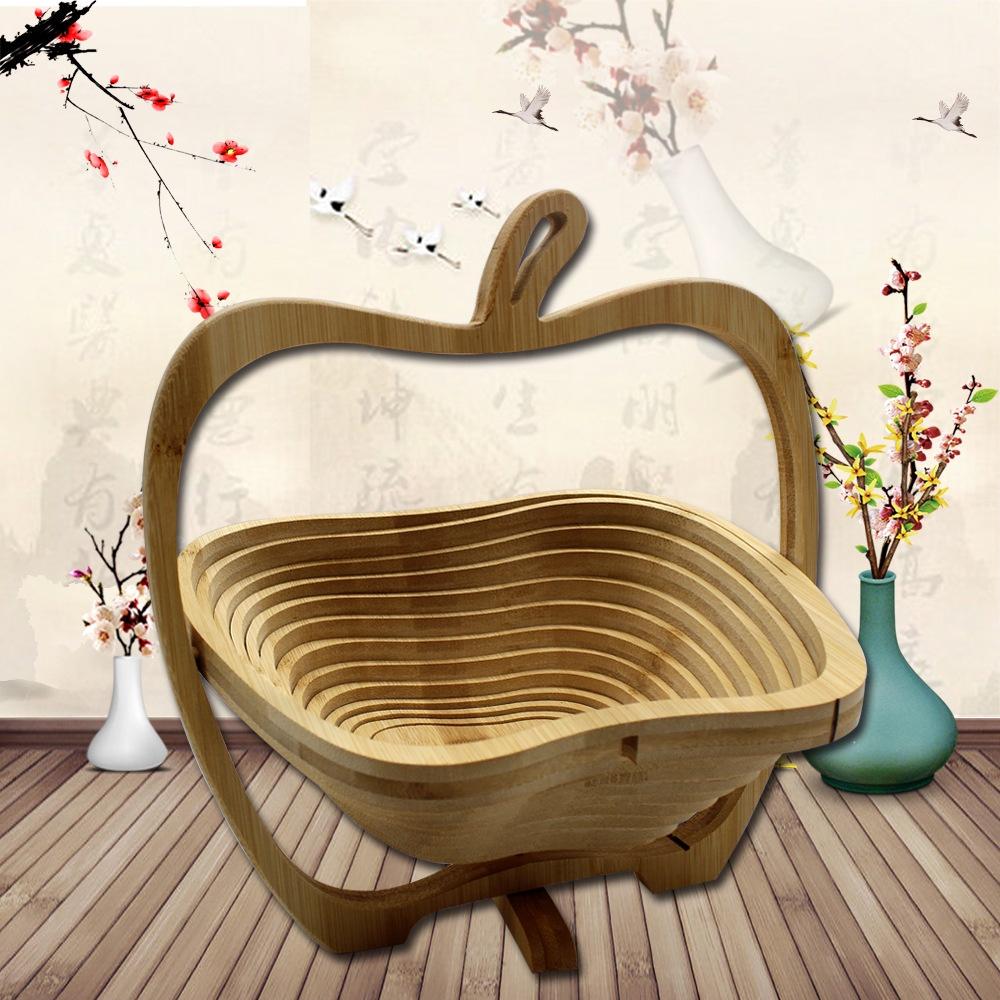 楠竹摺疊水果籃創意時尚工藝品籃子 竹製禮品收納籃新穎
