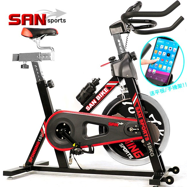 黑爵士18KG飛輪健身車C165-018(4倍強度18公斤飛輪車室內腳踏車推薦便宜)【SAN SPORTS】