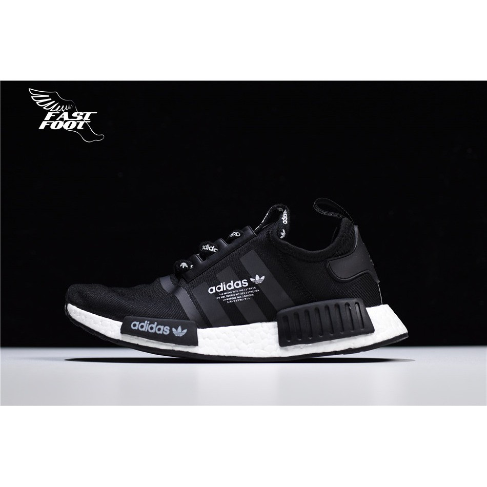 f372830b3  Fastfoot Adidas NMD R1 Logo F99711 BOOST 黑白爆米花慢跑鞋