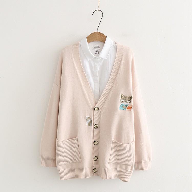 (預購)胸圍115 寬鬆日系卡通可愛狐狸雙口袋毛衣 毛衣外套  針織外套