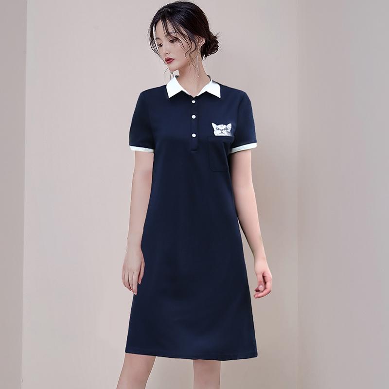 正韓洋裝休閒運動洋裝a字連衣裙遮肚子洋裝
