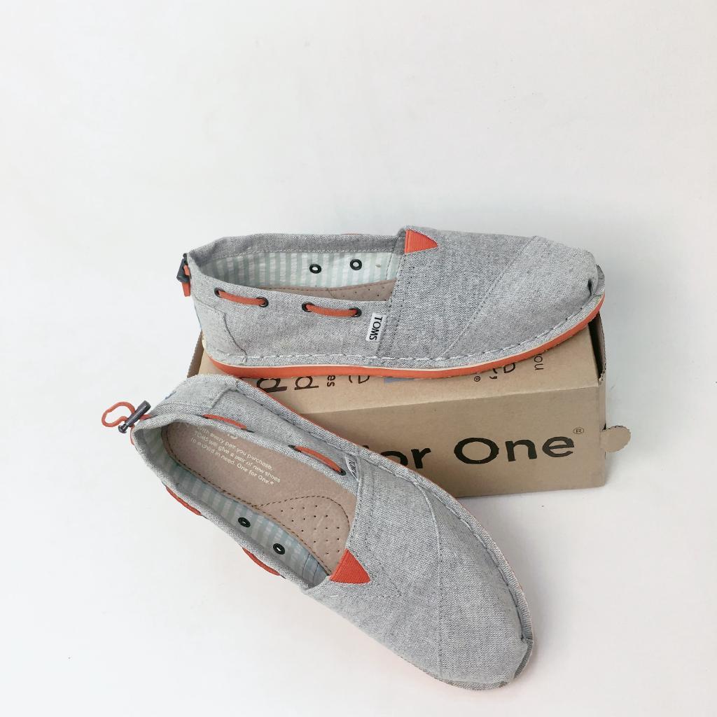 TOMS現貨時尚灰色馬克線懶人鞋大學生低幫女鞋