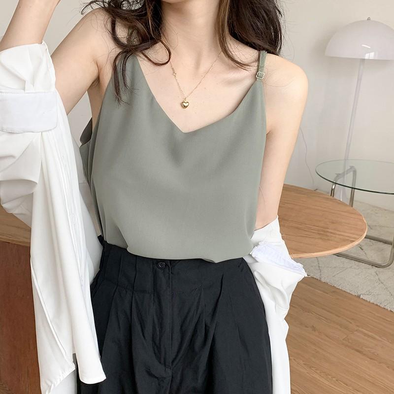 五色可選 吊帶背心 小背心 素色 V領 韓版 簡約風 直筒 顯瘦 吊帶 女生 上衣