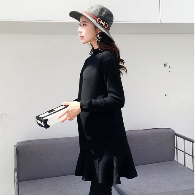BS貝殼【GN1773】秋冬新品 高品質 針織傘擺孕婦裙 孕婦裝 傘狀裙擺