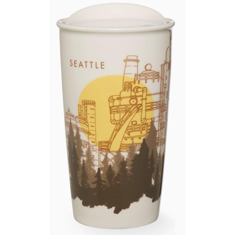 全新星巴克西雅圖手繪雙層馬克保溫杯城市杯