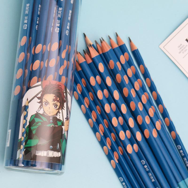 台灣現貨 鬼滅之刃三角洞洞鉛筆學生寫字鉛筆 練字鉛筆考試用筆卡通文具炭治郎