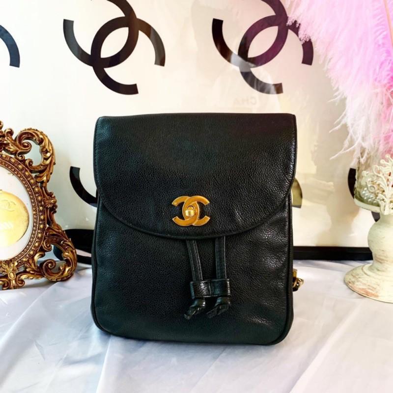 Chanel vintage coco Caviar logo backpack 香奈兒 黑色荔枝皮 logo 小後背包