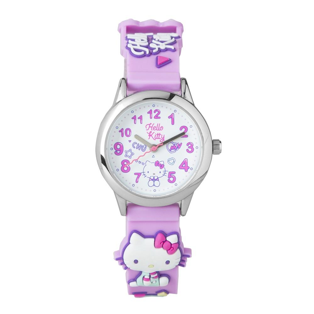 【HELLO KITTY】凱蒂貓 繽紛霓虹兒童手錶(紫 KT075LWWV)
