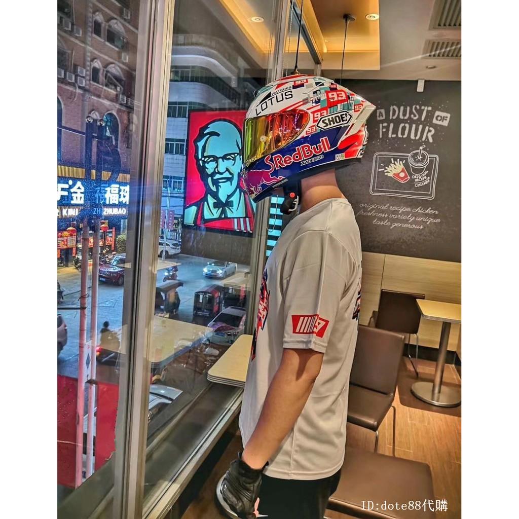SHOEI X14紅牛版畫開關電源鍵Z7系列93號男女全盔機車頭盔情侶款全罩安全帽全覆蓋式電動燃油摩托車雙D釦賽車盔代購
