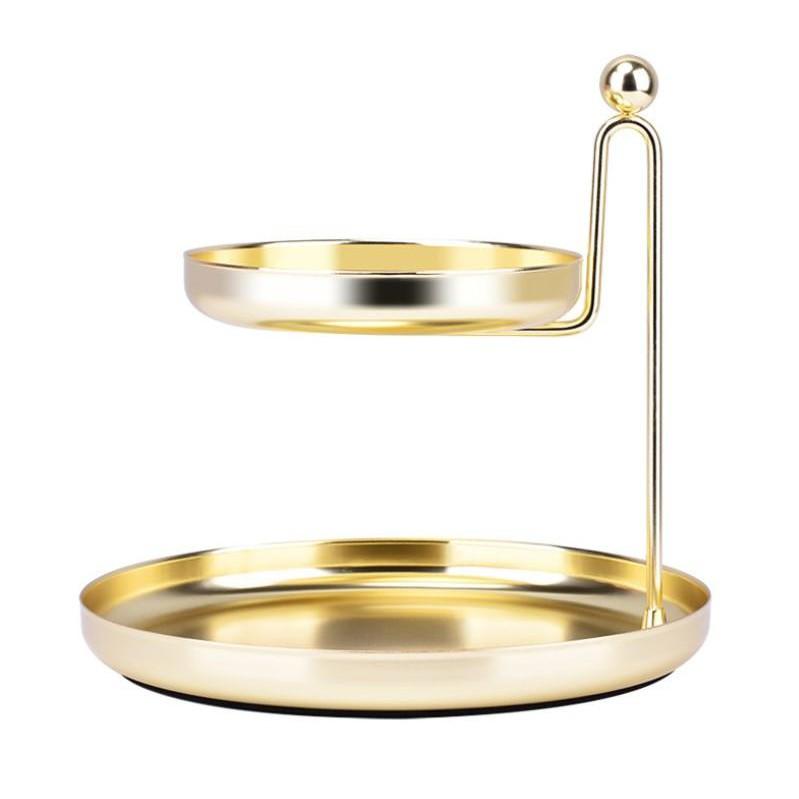 雙層收納盤SG533 北歐風化妝品首飾架 桌面整理托盤 梳妝台金色置物盤BOY