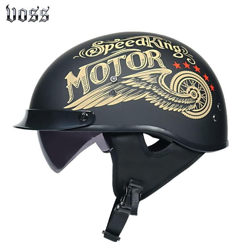 【歐尚守護專家】VOSS摩托車哈雷頭盔男女半盔輕便式復古機車電動車安全帽四季