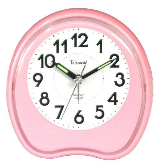 Telesonic/天王星鐘錶 霓虹光鬧鐘粉紅色 靜音機芯 貪睡功能 音樂鬧鐘