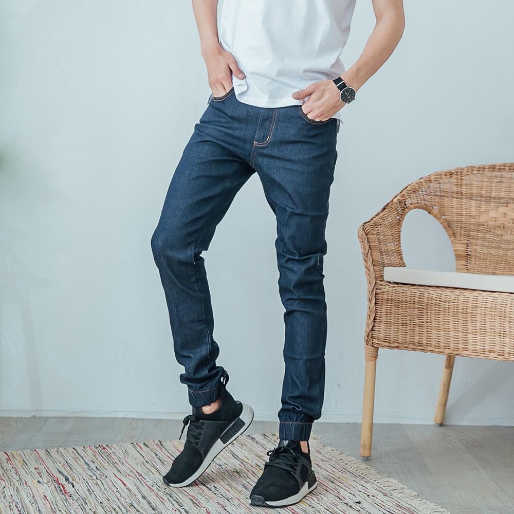 【K-2】丹寧縮口褲 彈性 牛仔褲 韓版 素面 丹寧褲 縮口褲 束口褲 加大尺碼 【OEJ88029】