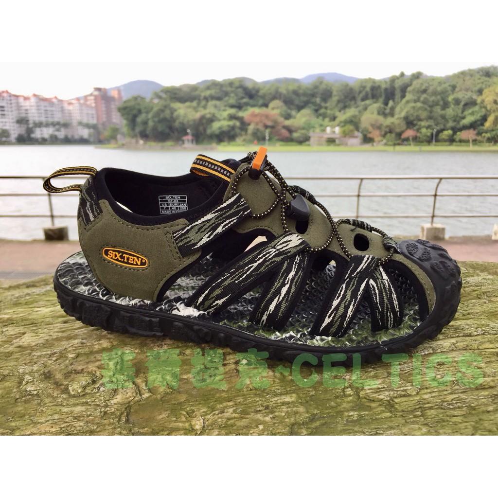 塞爾提克~免運 現貨 SIX.TEN 男生 OUTDOOR涼鞋 戶外沙灘鞋 護指溯溪鞋(黑/綠).套套拖鞋