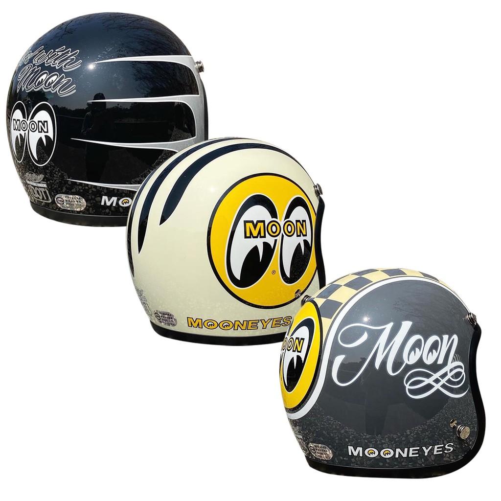 Mooneyes 騎士帽 台灣限定 雙D扣 3/4 半罩式安全帽 MOON 月亮眼睛 賽車格 2021新配色 小帽體