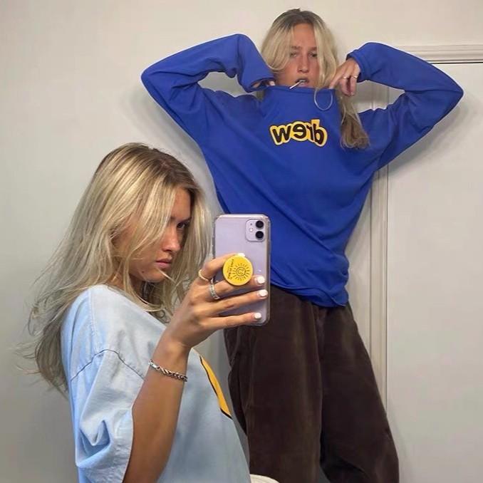美國代購 Drew House 比伯同款 字母 印花 長袖T恤 純棉 舒適 百搭 透氣 T恤 休閒 時尚 上衣 情侶款