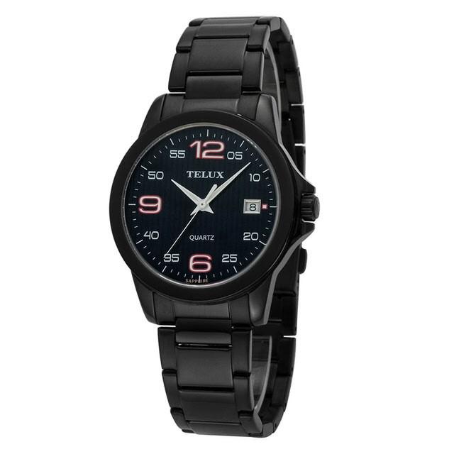 台灣品牌手錶腕錶【TELUX鐵力士】輕薄質感數字腕錶手錶40mm台灣製造石英錶7002BK-BK黑鋼帶黑面