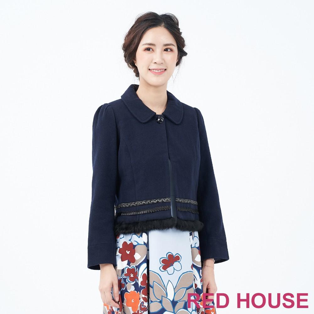 【RED HOUSE 蕾赫斯】羊毛短大衣(藍色)