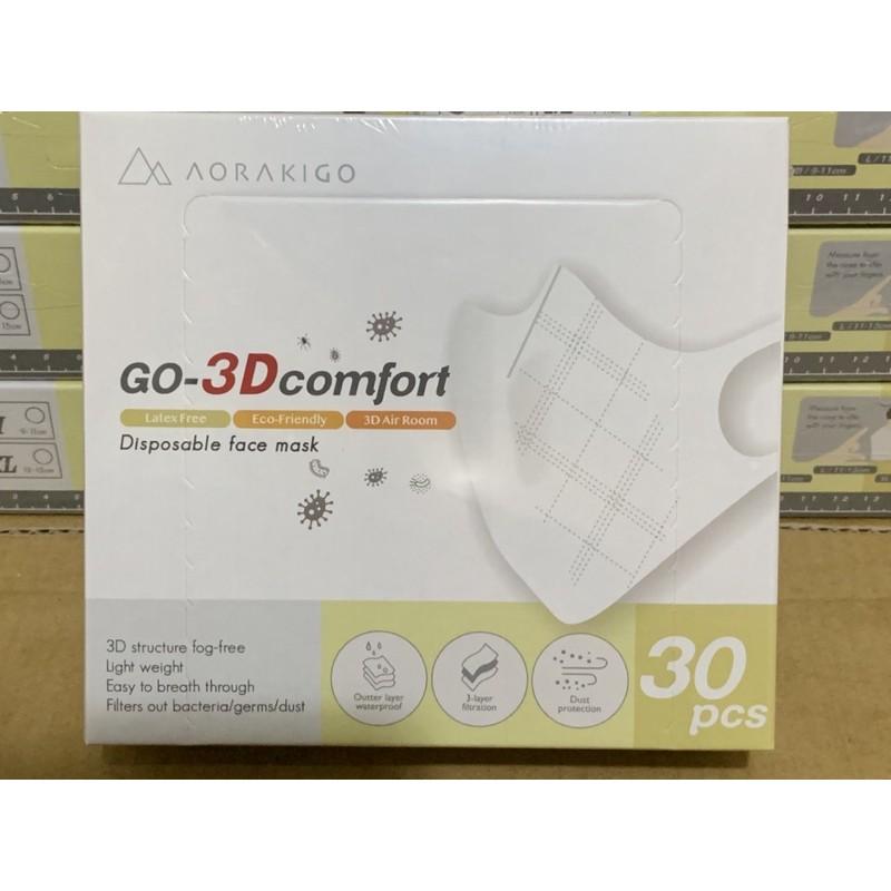 GO 3D-comfort 超舒適過濾科技口罩【非醫療用】【L/白色】美國專利無膠質彈性不織布 陳沂推薦透氣不悶熱