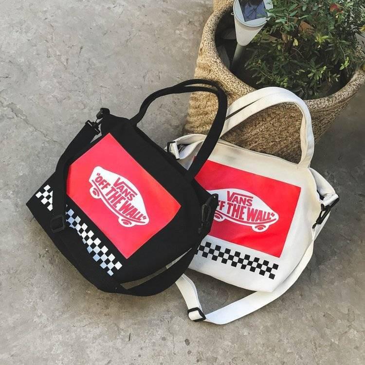 【現貨】日本mini雜誌附錄美國潮牌VANS個性滑板黑白格子帆布單肩後背包雙肩包側背包手提包收納三用
