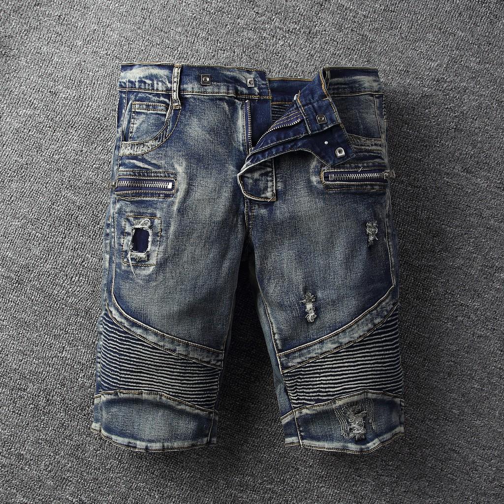 BALMAIN/牛仔褲 BM Shost Jeans 微彈修身短褲 男士破洞潑漆單寧牛仔短褲 巴爾曼修身直筒牛仔短褲