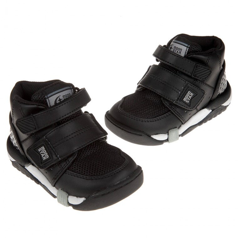 童鞋M*(15~21公分)Moonstar日本Carrot黑色兒童機能矯健鞋(醫師推薦矯正鞋)I9B406D