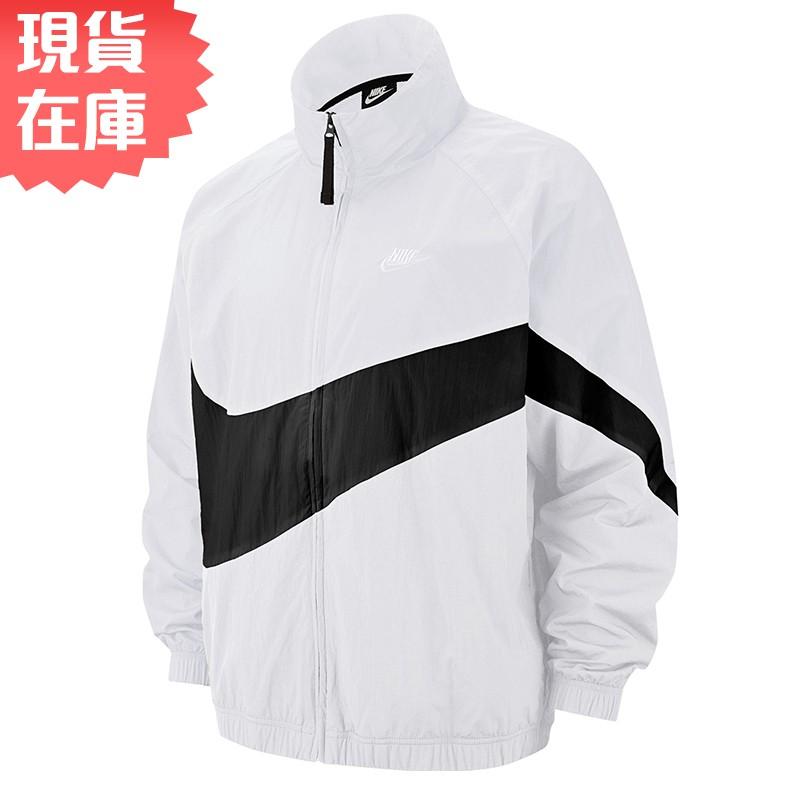 NIKE Sportswear 男裝 外套 夾克 防風 休閒 透氣 大勾 光澤感 白【運動世界】AR3133-100