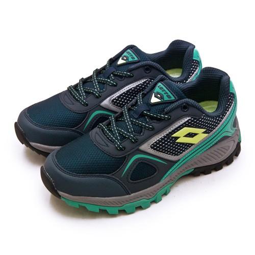 【LOTTO】專業防潑水郊山越野跑鞋 CROSS RUN 跨越叢林系列 藍灰 1056 女