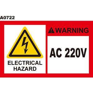 警告貼紙 A0722 警示貼紙  220V當心觸電 電擊危害 高壓危險 電弧危害  [ 飛盟廣告 設計印刷 ]