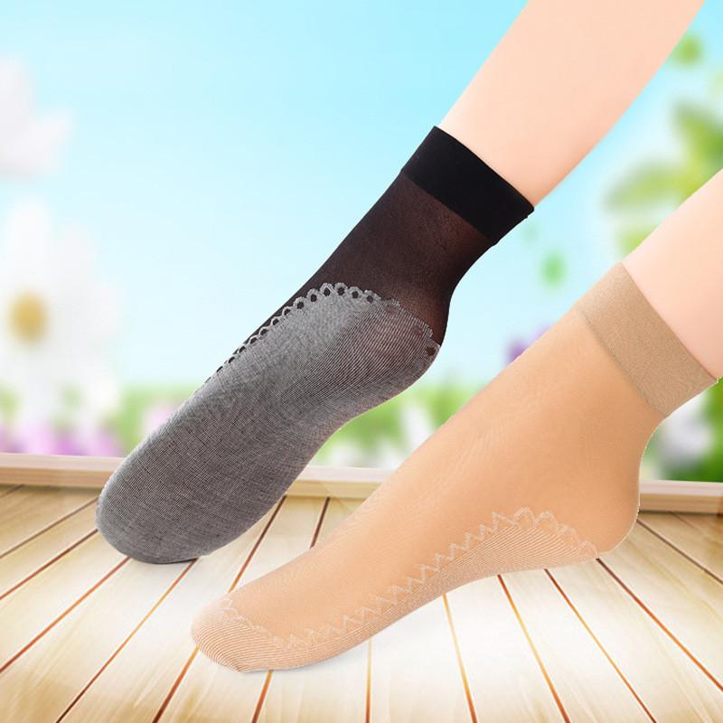 棉底防滑短絲襪襪子女春夏季吸汗透氣時尚彈力水晶短襪韓版天鵝絨防勾絲超薄款