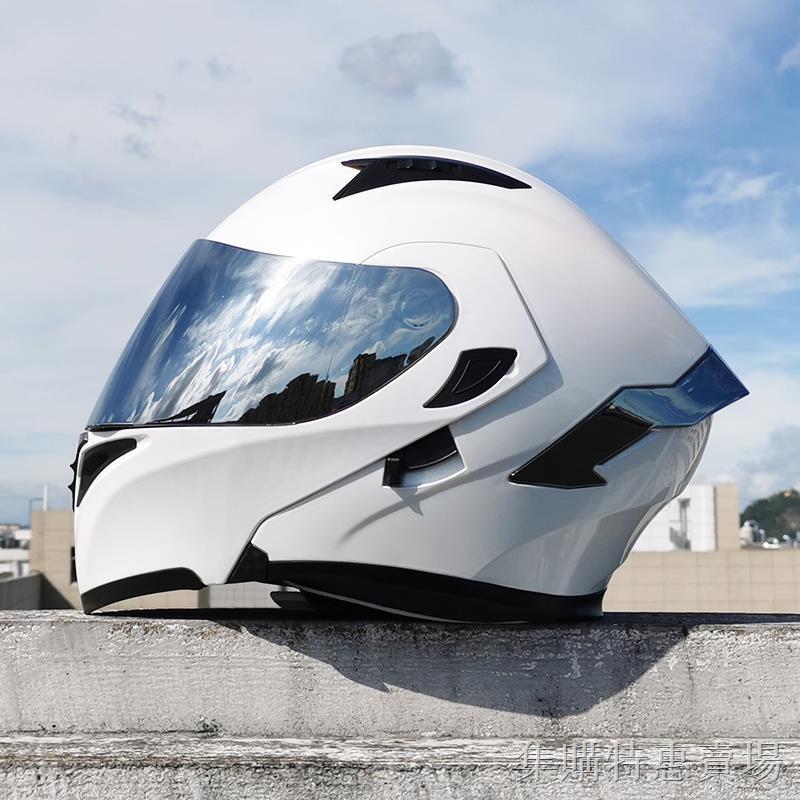 ❃▲☾Orz電動車頭盔男揭面盔雙鏡片半盔安全帽個性四季機車頭灰女