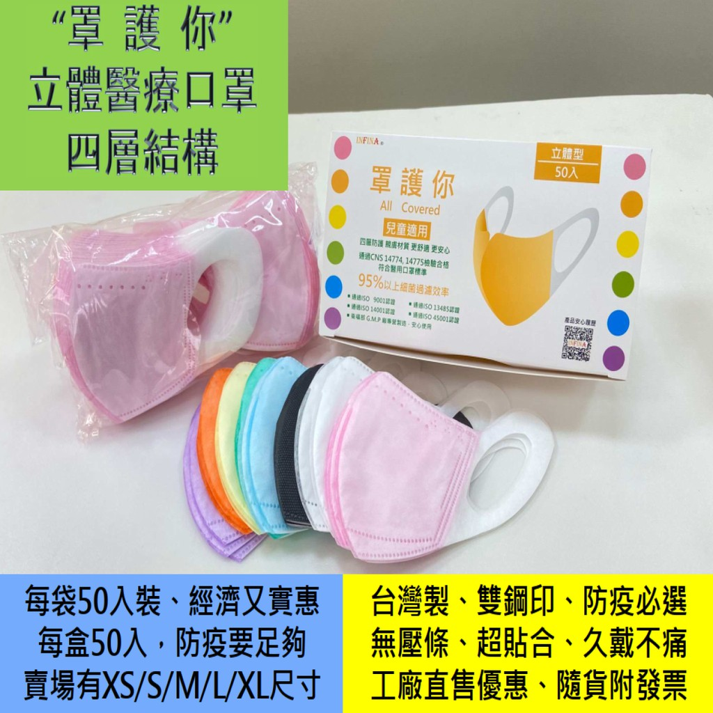 """""""罩護你"""" 醫療口罩 兒童(XS/S) MIT台灣製 1包/盒(50入) 3D立體口罩 四層結構 寬耳帶口罩"""