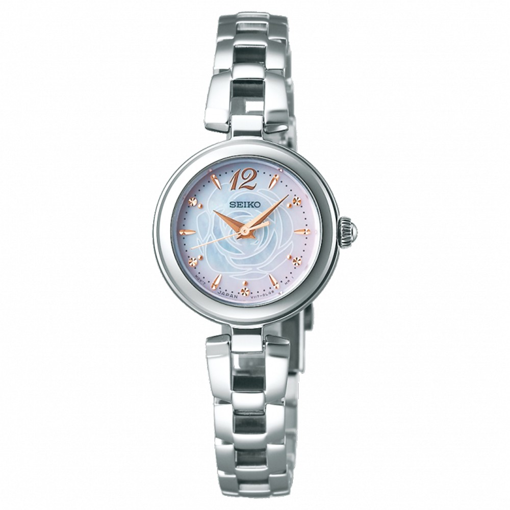 SEIKO精工 限量VIVACE 太陽能優雅渲染玫瑰腕錶23mm(SWFA189J/V117-0CT0S)