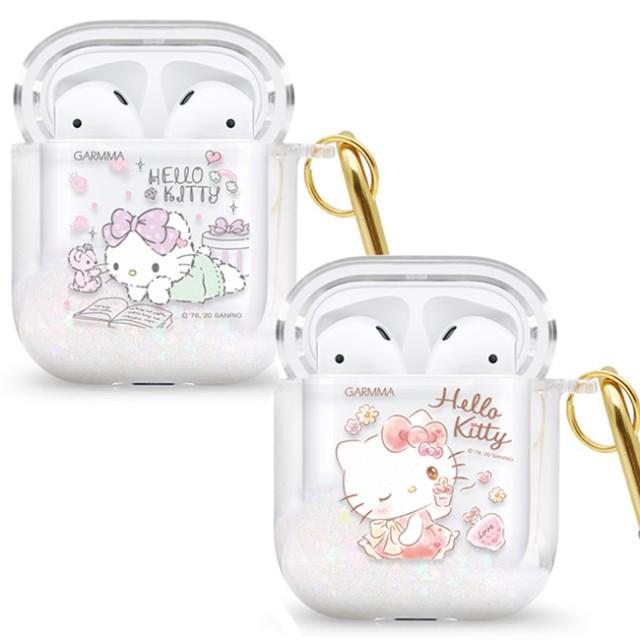 【GARMMA Hello Kitty AirPods 1&2代藍芽耳機流沙保護套】保護套 保護殼