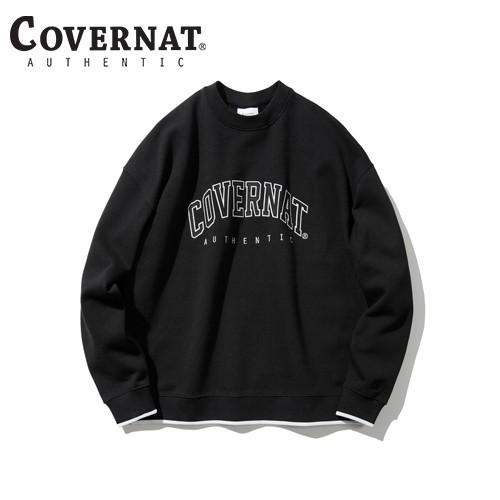 [COVERNAT] 20秋冬 拱形刺繡LOGO圓領上衣(黑色)