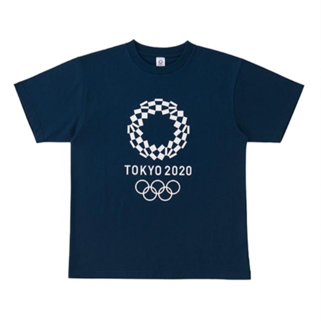2020 年東京奧運會官方中性裁剪回印 T 恤海軍 Xl