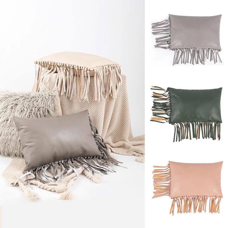 10Mk 流蘇 PU 皮革枕套扔枕頭套椅子墊盒沙發座墊套家用裝飾臥室